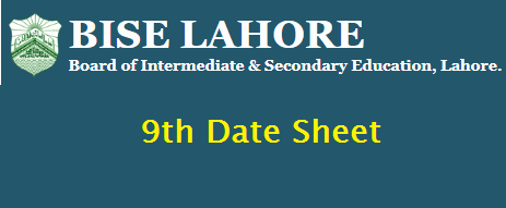 Bise Lahore Board 9th Date Sheet