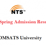 COMSATS University Islamabad NTS Spring Admission Result